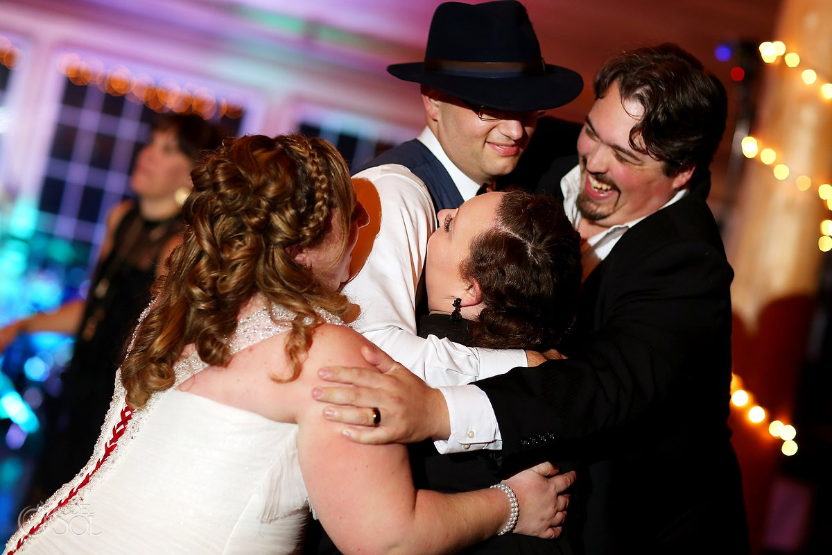 Family and friends love hug Wedding at Bolton Valley Resort Vermont United States