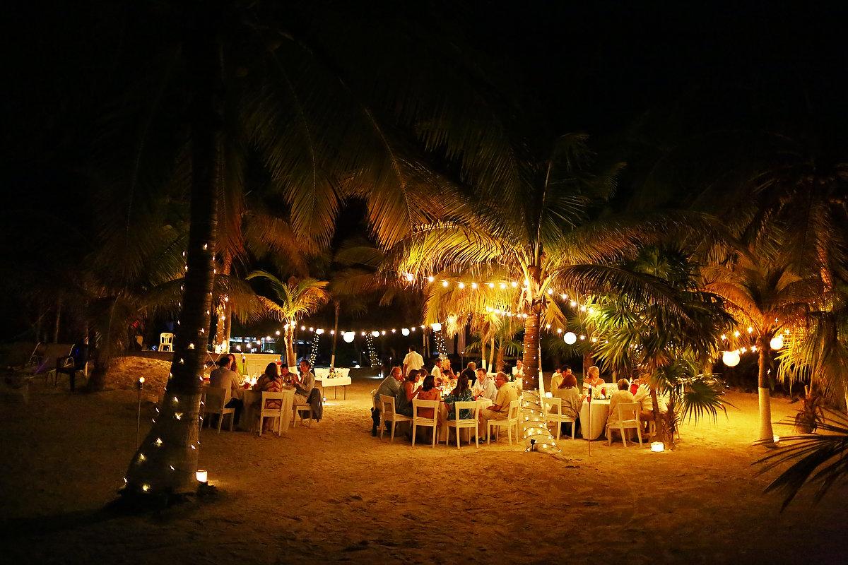 Destination beach wedding venue ideas Zalazzar Beach Bungalows Sian Kaan Tulum night portraits