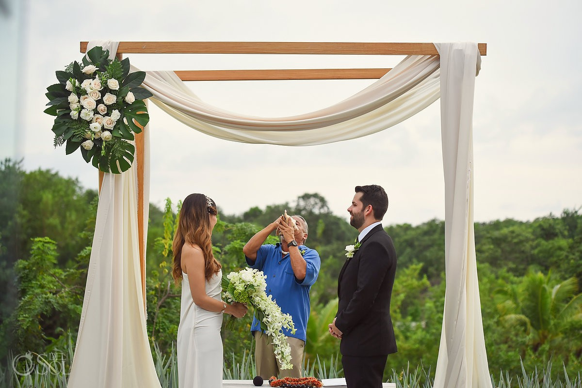 Hyatt Andaz Mayakoba Wedding Photography conch shell ceremony