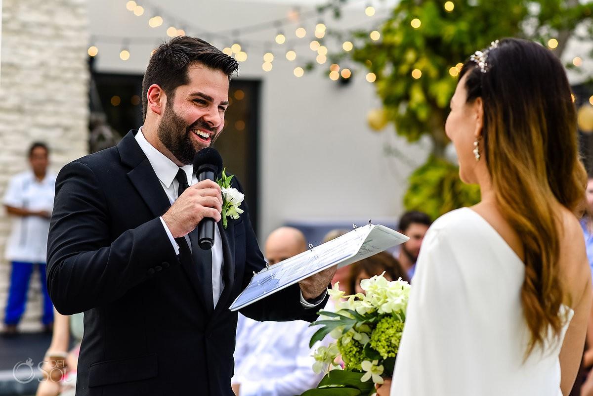 Casa Amate Groom vows Andaz Mayakoba wedding Playa del Carmen Mexico.