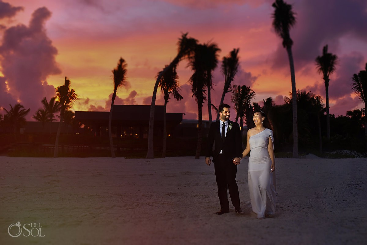 Bride and Groom romantic sunset beach pictures hyatt Andaz Mayakoba wedding Playa del Carmen Mexico.