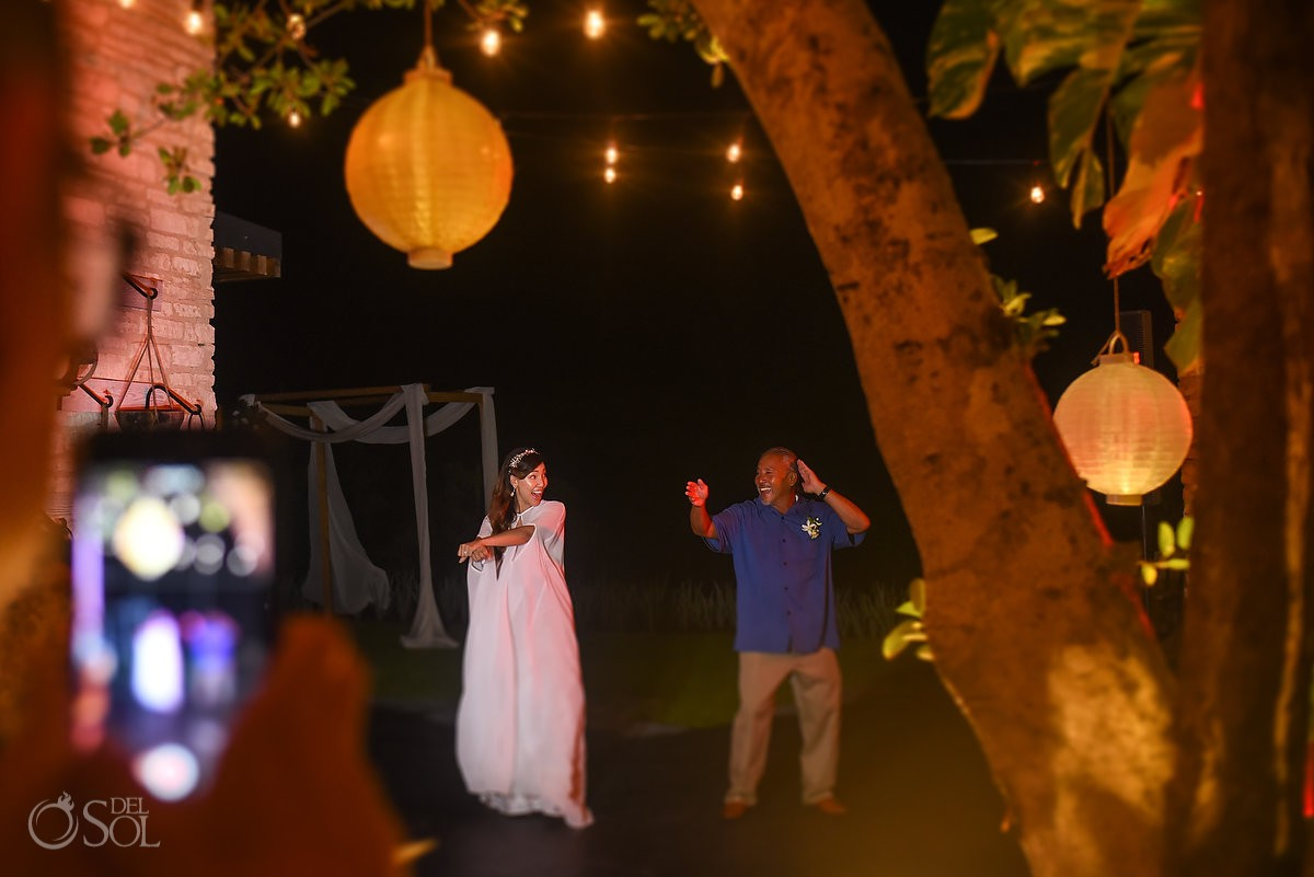 Father and Bride first dance wedding reception Andaz Mayakoba Playa del Carmen Mexico.