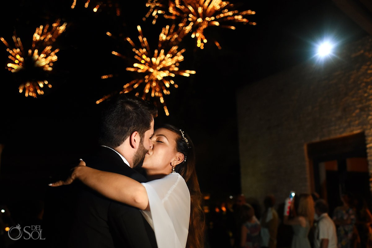 Reception portraits Andaz Mayakoba wedding fireworks Playa del Carmen Mexico.