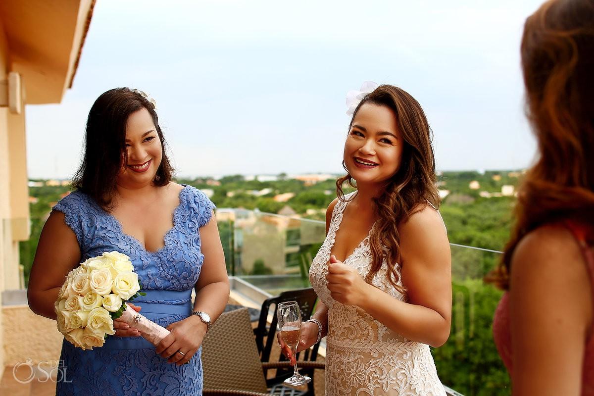 Bride moment before wedding ceremony Dreams Puerto Aventuras Riviera Maya Mexico