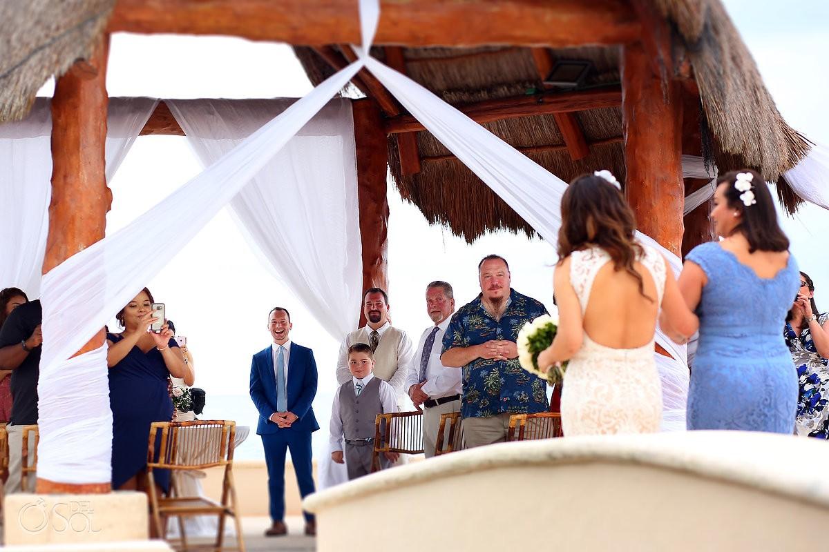 Bride and groom wedding ceremony first look Dreams Puerto Aventuras Riviera Maya Mexico
