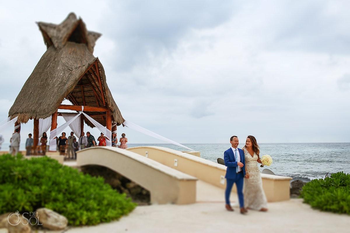 Bride and groom ceremony exit Dreams Puerto Aventuras Riviera Maya Mexico