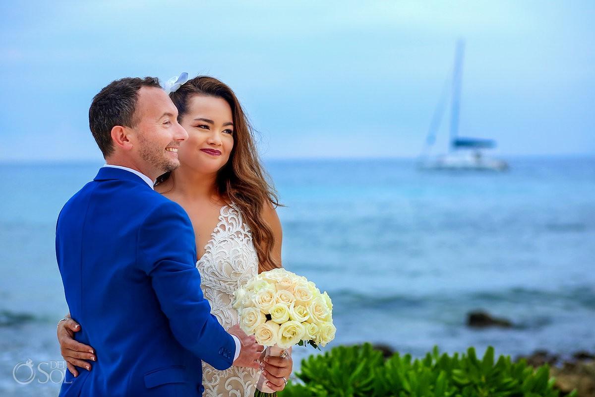 Destination beach wedding ceremony Dreams Puerto Aventuras Riviera Maya Mexico