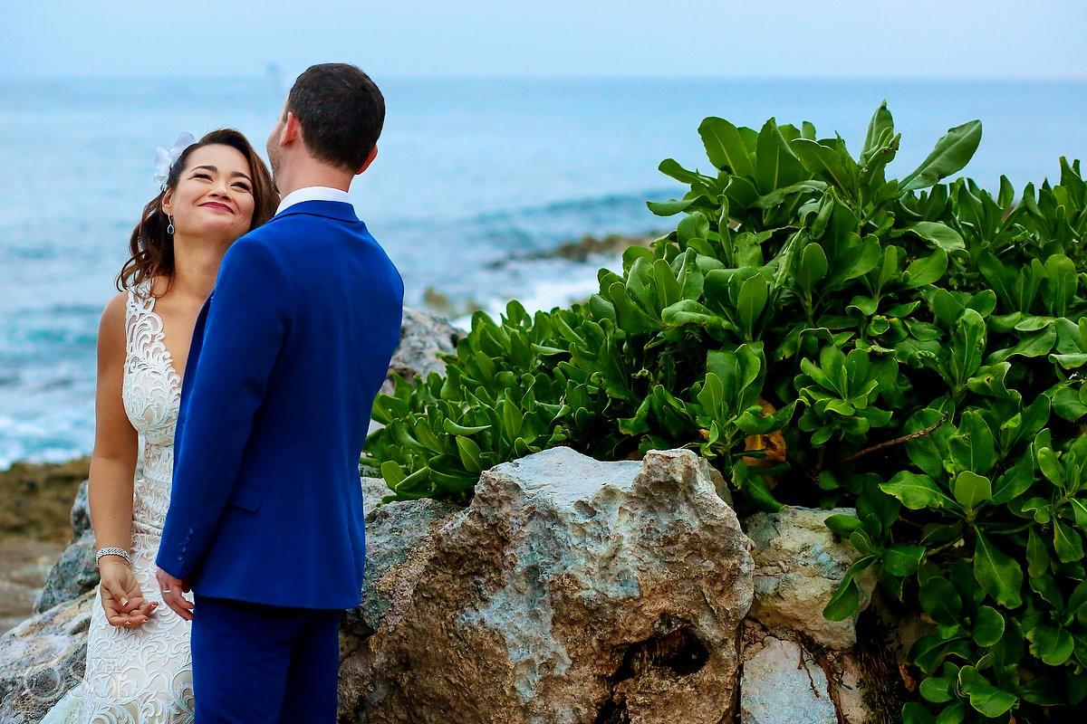beach wedding portraits bride and groom Dreams Puerto Aventuras Riviera Maya Mexico