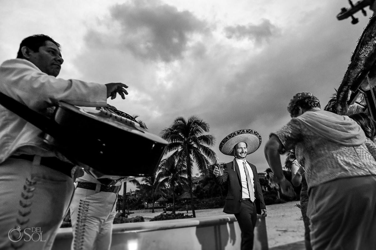 Wedding guest dancing mariachi loco Dreams Puerto Aventuras Riviera Maya Mexico
