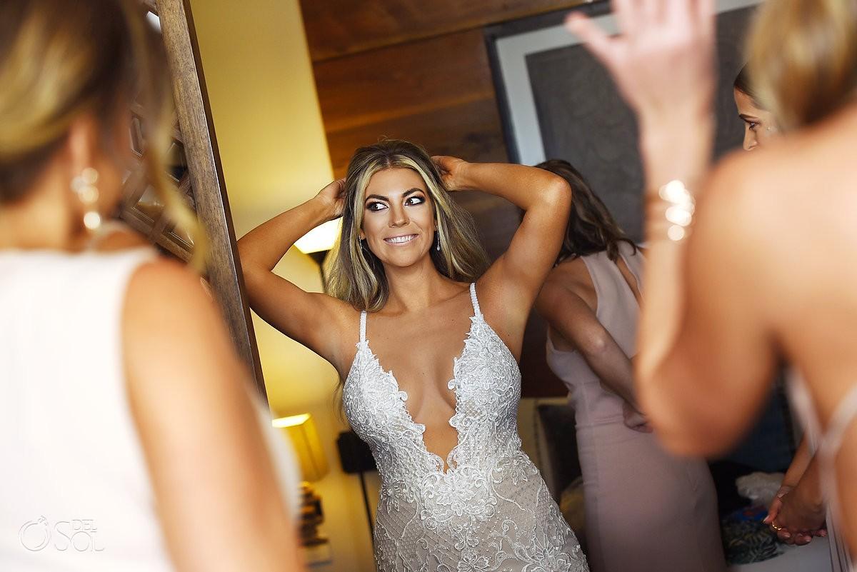 Beautiful bride getting ready best wedding venue Nizuc Resort Cancun Mexico