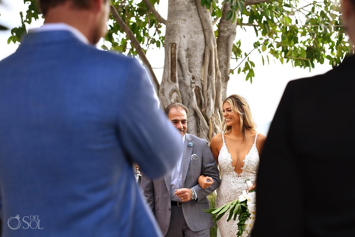 Father giving away bride Destination wedding ceremony Nizuc Resort Cancun Mexico