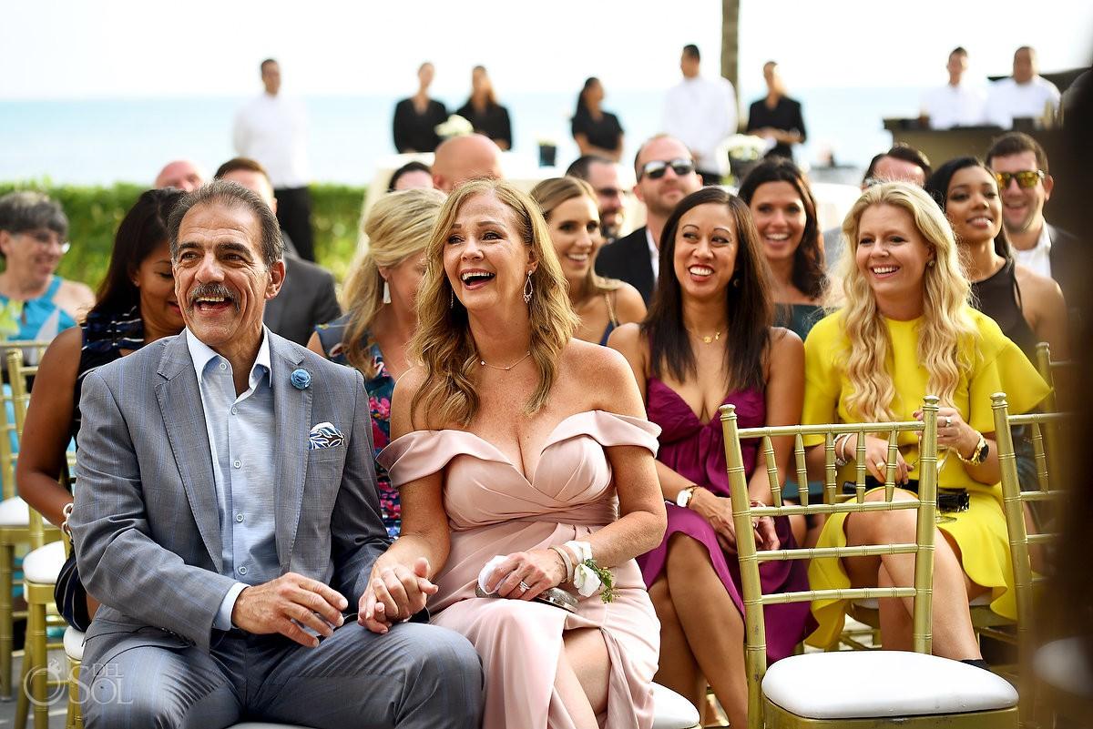 Wedding guest enjoying ceremony Nizuc Resort Cancun Mexico