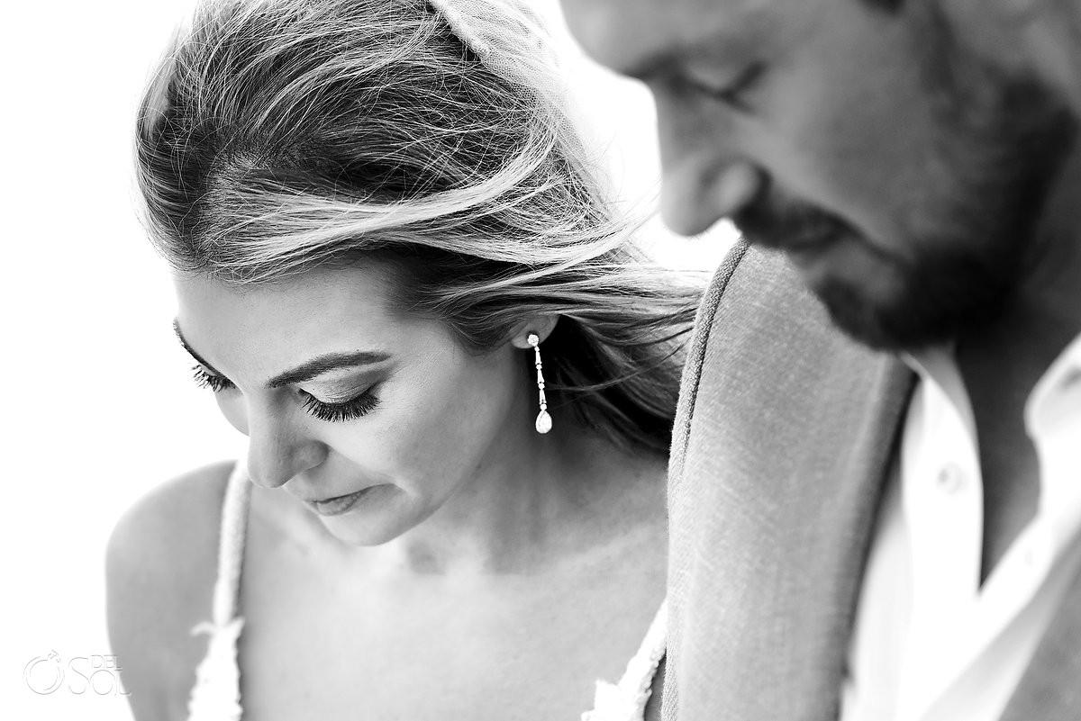 Black and white wedding portrait Nizuc Resort Cancun Mexico
