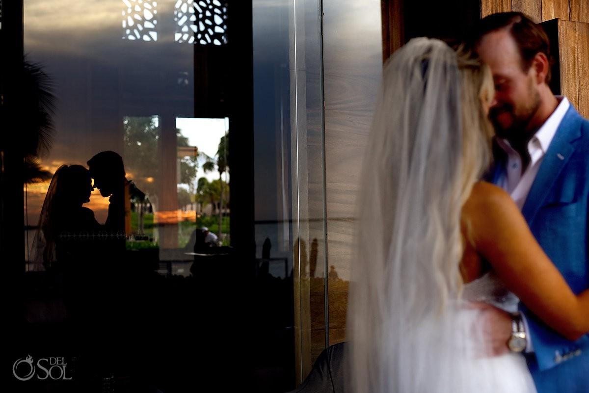 Creative and romantic bride and groom wedding portrait Nizuc Resort Cancun Mexico