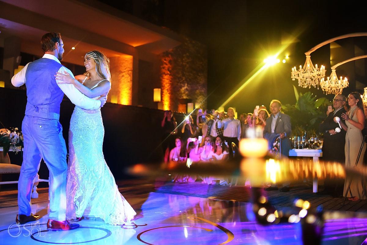Bride and groom first dance guest enjoying celebration Nizuc Resort Cancun Mexico