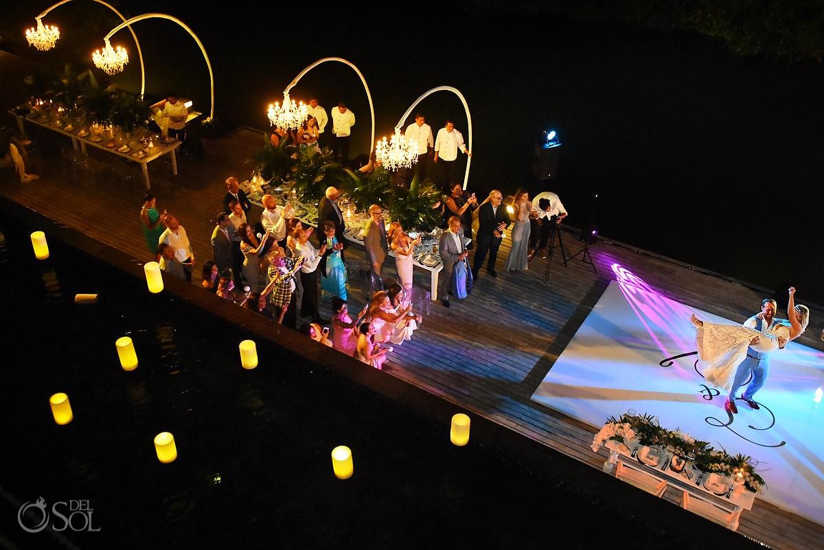 Beautiful first dance night portrait bride and groom dancing Nizuc Resort Cancun Mexico