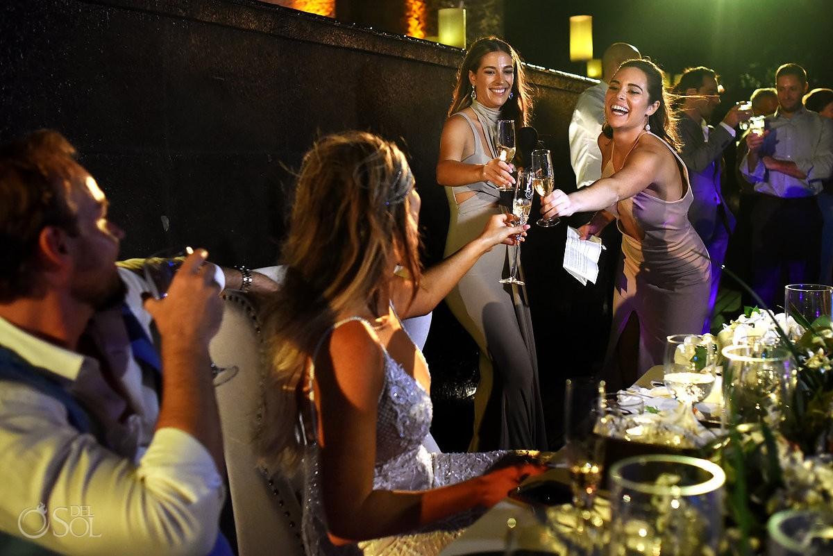 Bride and bridesmaids toast Nizuc Resort Cancun Mexico