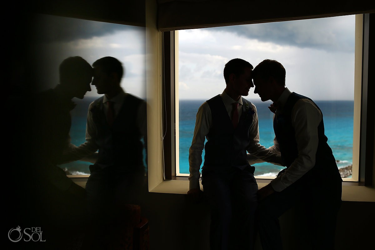 Silhouette Same sex Destination Wedding Hyatt Ziva Cancun Mexico