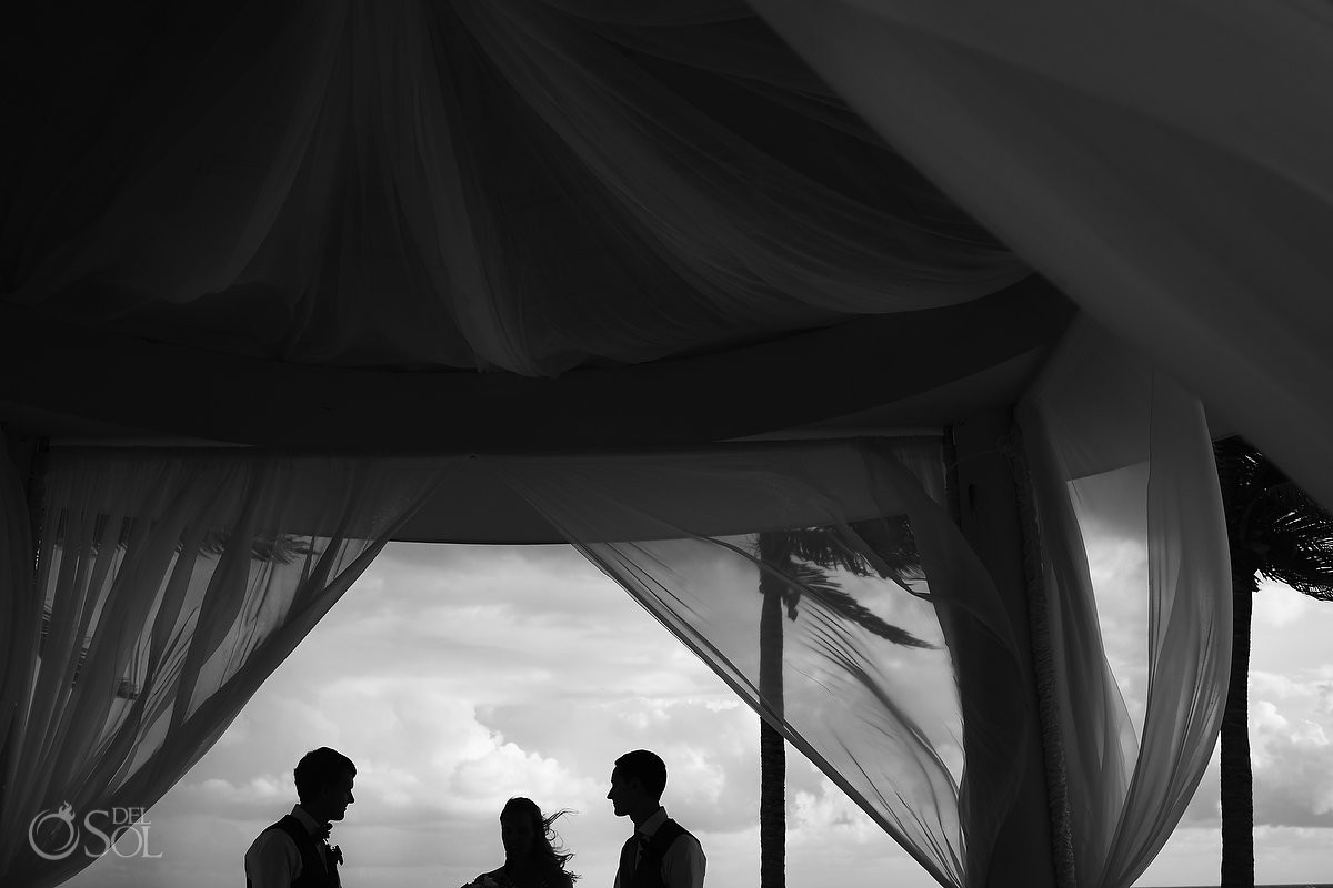 Groom and groom silhouette black and white photography Same sex Destination Wedding Hyatt Ziva Cancun Mexico