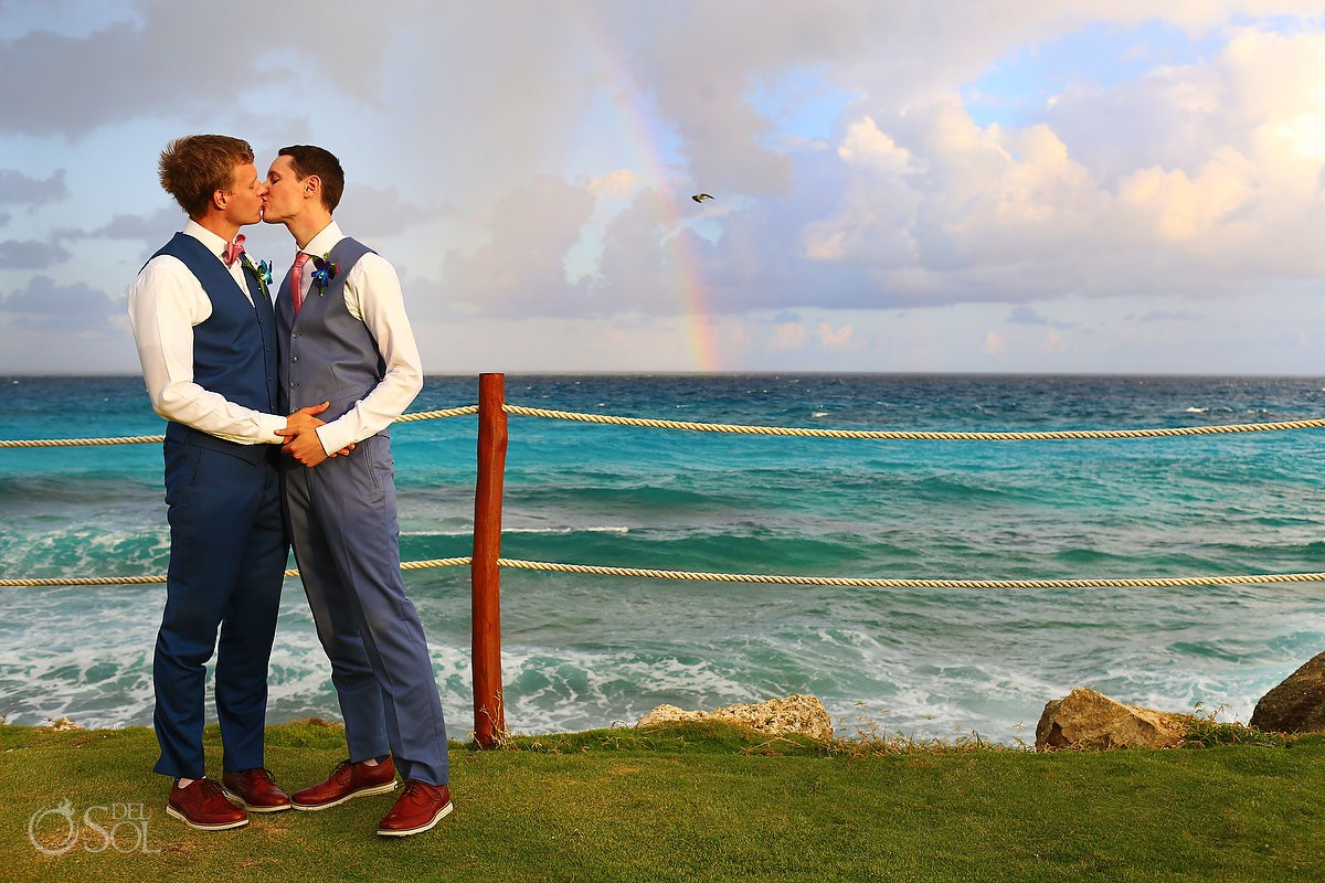 Rainbow love symbol LGTBQ pride Same sex Destination Wedding Hyatt Ziva Cancun Mexico