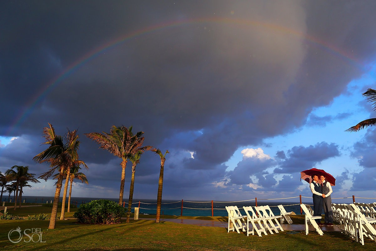 Rain love groom and groom clouds blue sky nature rainbow Same sex Destination Wedding Hyatt Ziva Cancun Mexico Love is love
