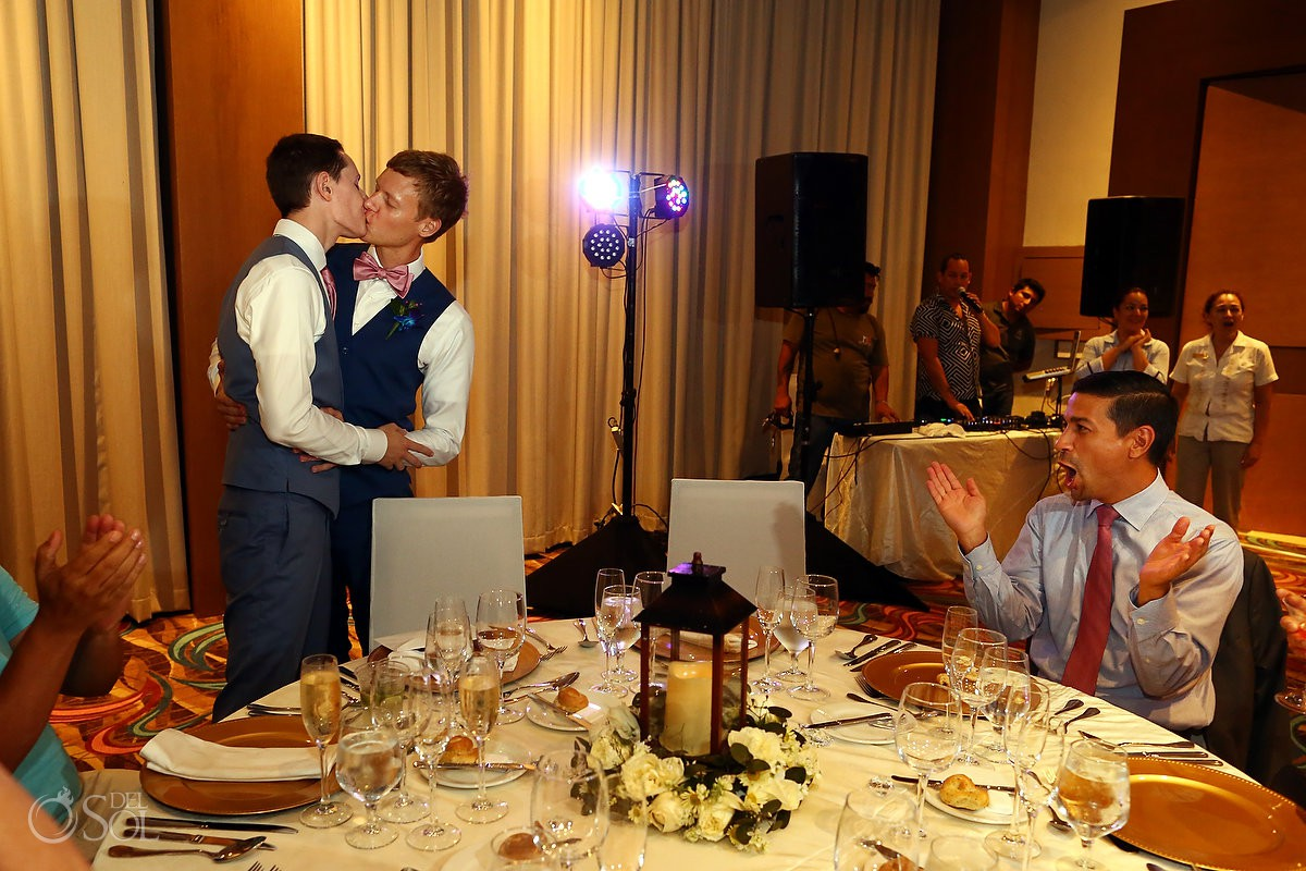 Same sex Destination Wedding reception Hyatt Ziva Cancun Mexico