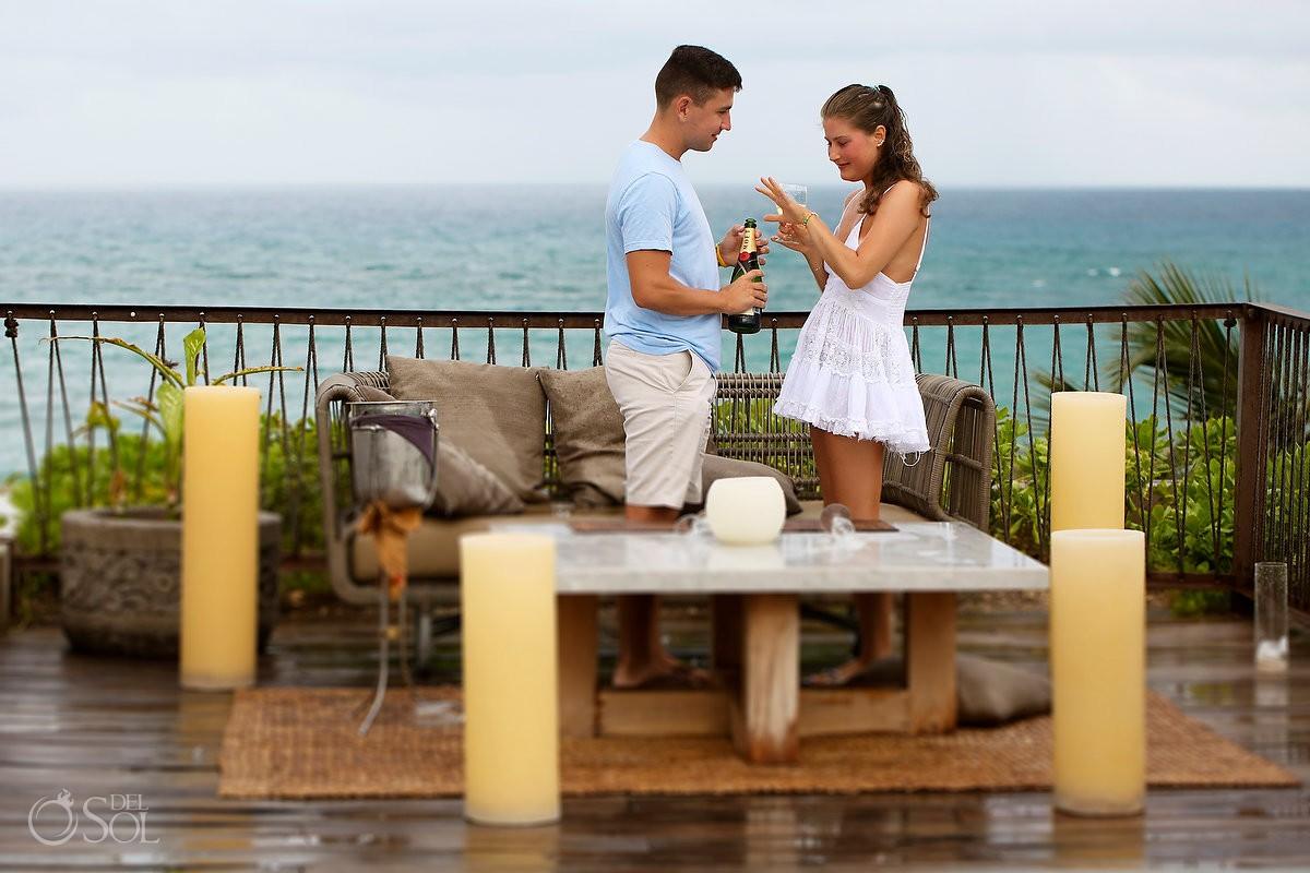 Riviera Maya Engagement proposal in tulum, Hotel be tulum jungle surprise proposal ,