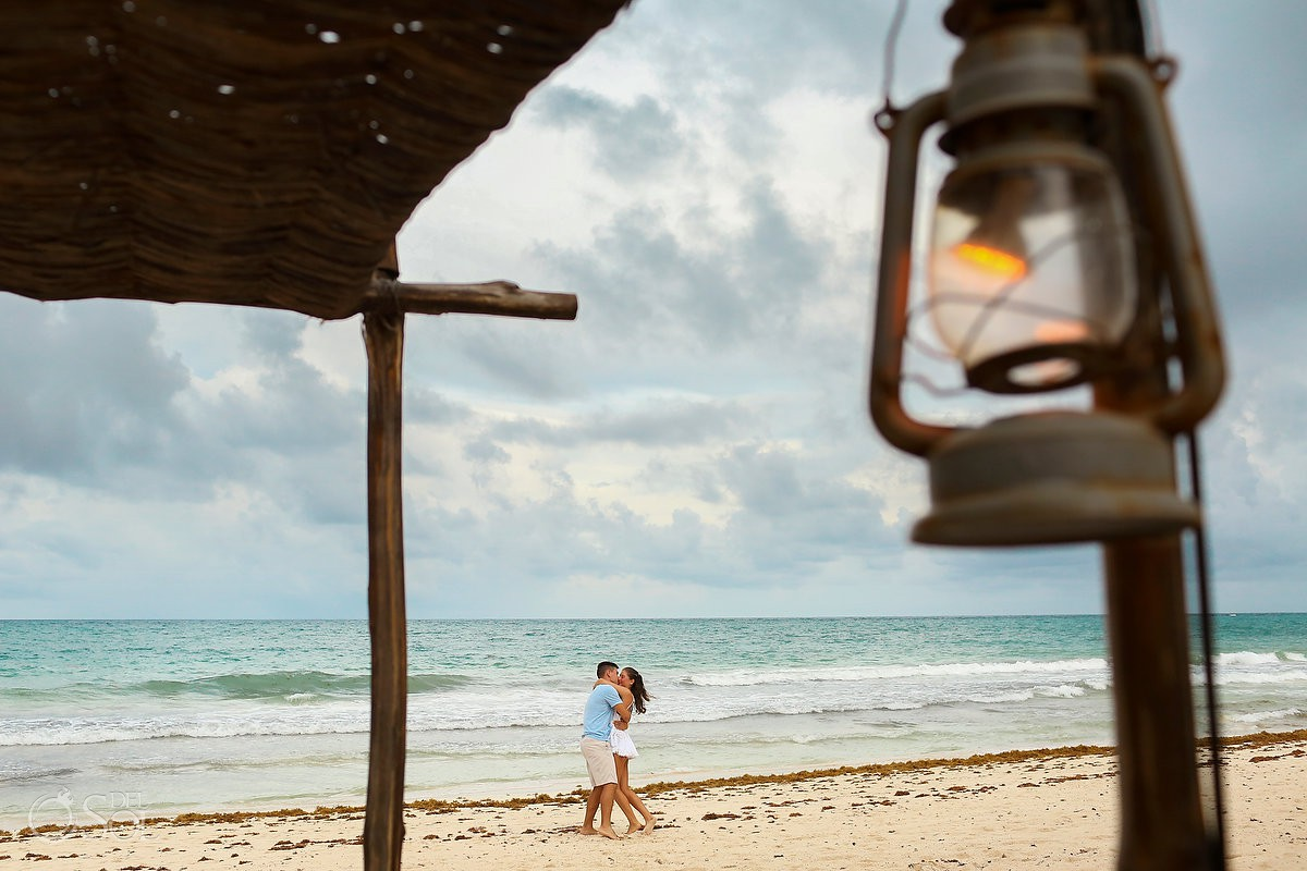 tulum beach engagement photos surprise proposal photography be tulum hotel tulum love just engaged happy couple bride groom beach destination