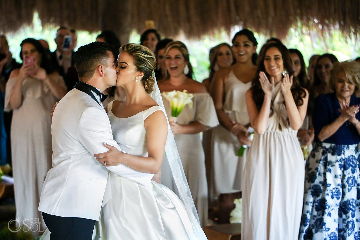 Bride and groom first kiss guest happiest moment Xcaret Playa del Carmen Mexico