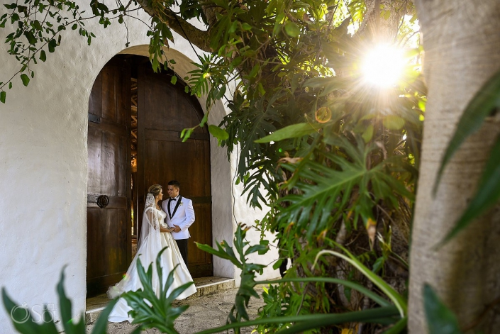 Sun light sunset time bride and groom romantic portraits Xcaret Playa del Carmen Mexico