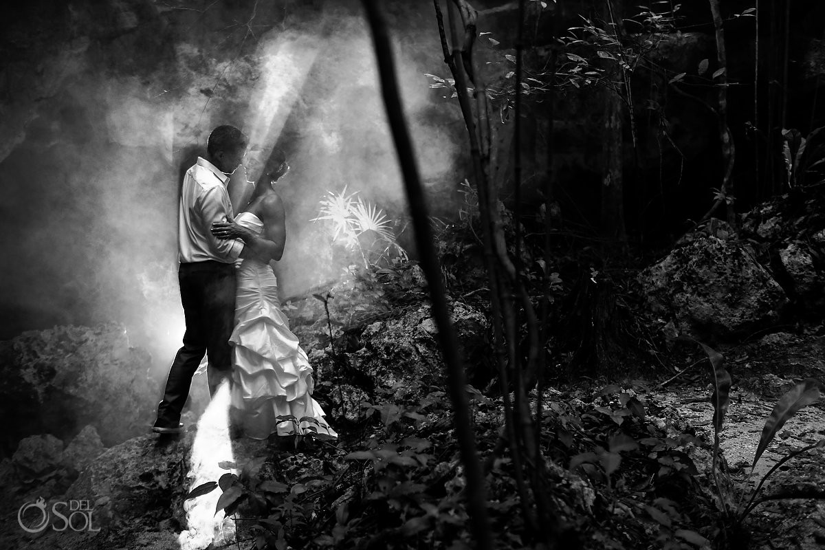 Creative black and white picture bride and groom Cenote and Jungle Trash the Dress Riviera Maya Mexico.