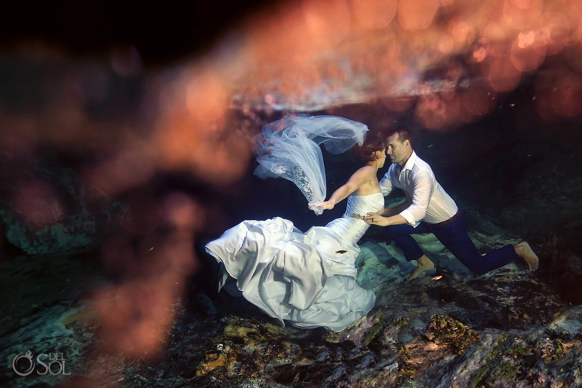 Bride and groom Cenote Trash the Dress Riviera Maya Mexico.