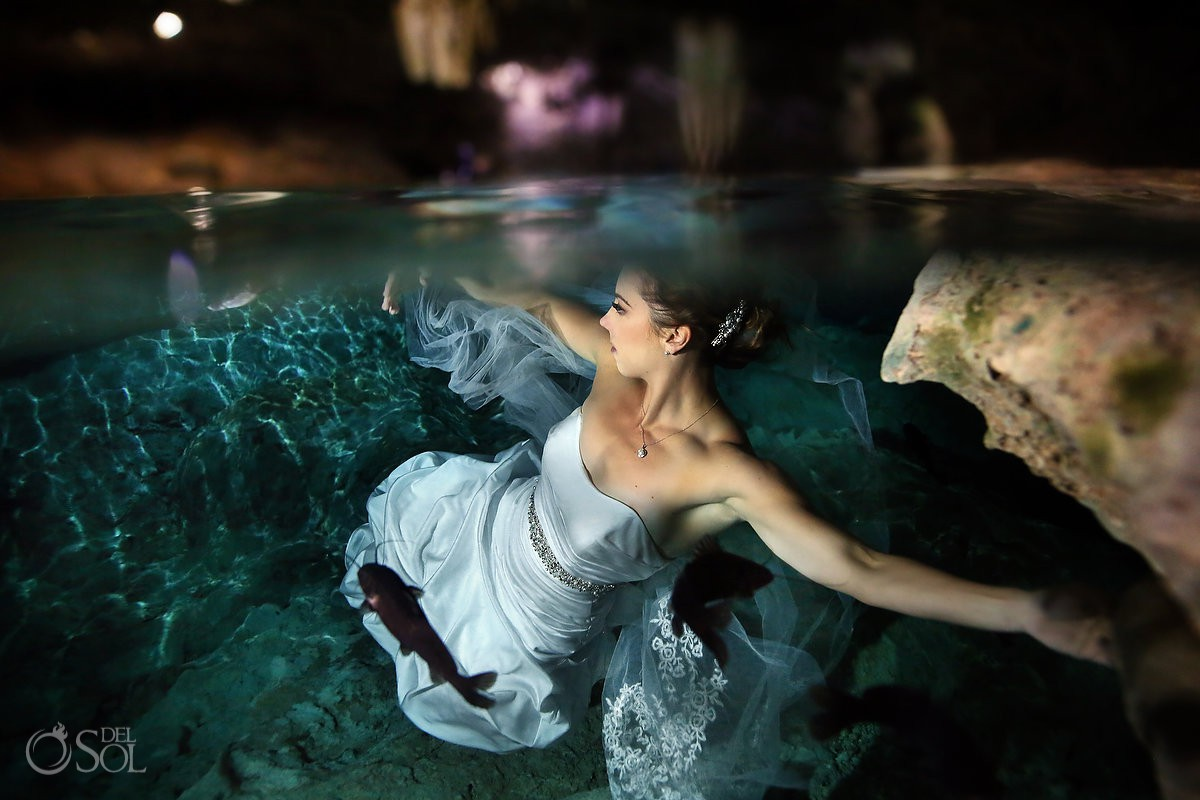 Under water bride wedding dress Cenote Trash the Dress Riviera Maya Mexico.