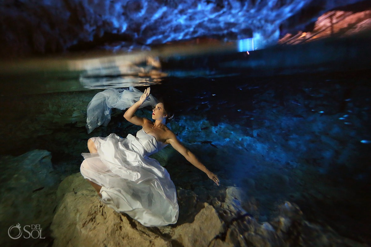 Wedding dress ideas after wedding ceremony Cenote Trash the Dress Riviera Maya Mexico.