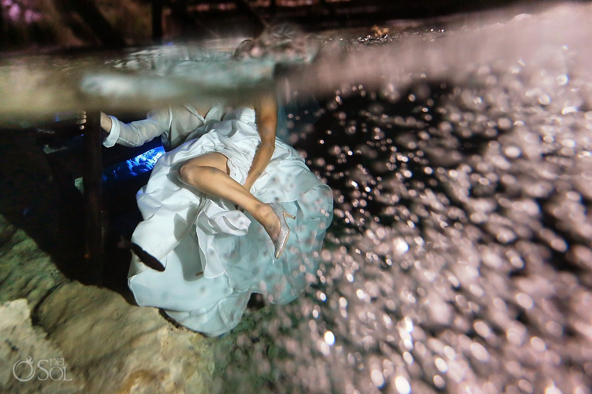 Sexy and fun Cenote Trash the Dress Riviera Maya Mexico.