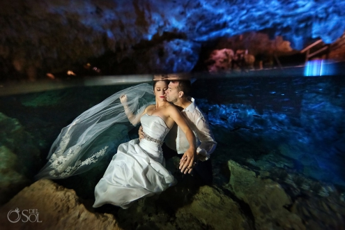 Sexy Romantic Cenote Trash the Dress Riviera Maya Mexico.