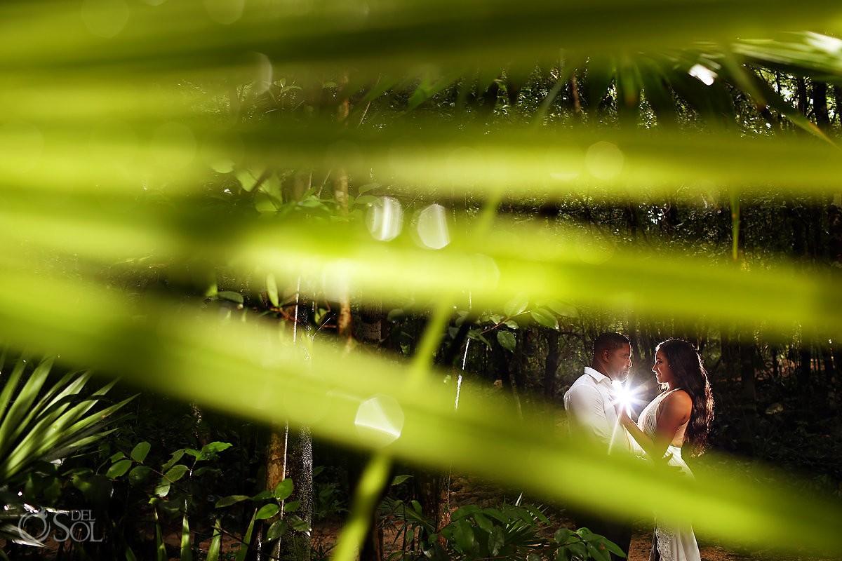 bride and groom Cenote Trash the Dress wedding portraits Riviera Maya Mexico
