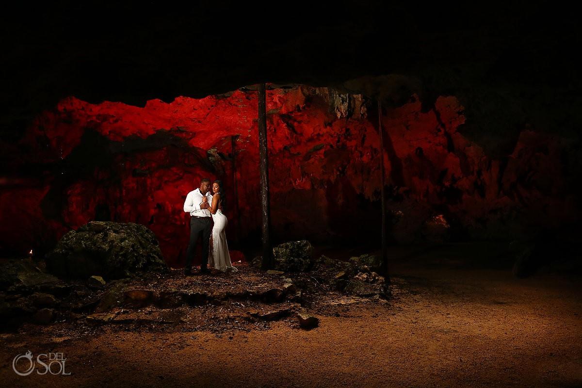 Bride and groom sexy Trash the Dress under Cenote cave Riviera Maya Mexico