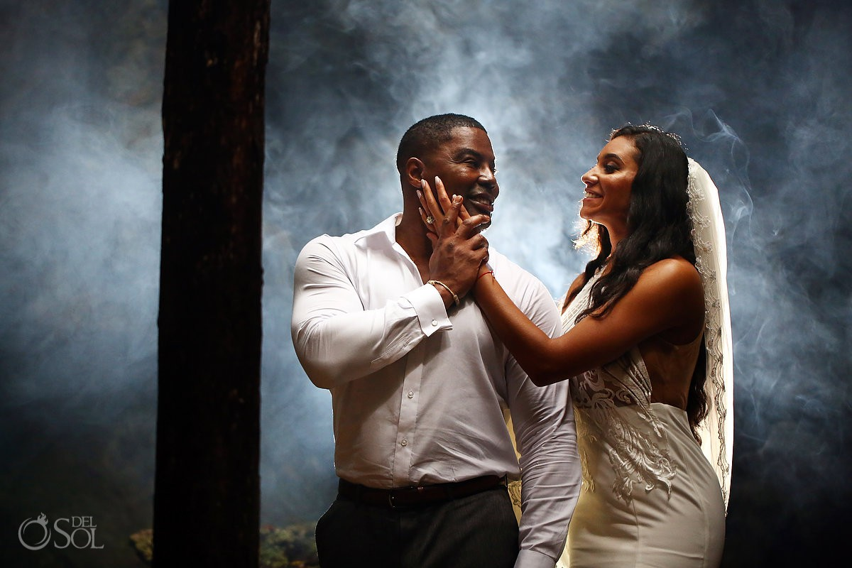 bride and groom after wedding best ideas Cenote Trash the Dress Riviera Maya Mexico