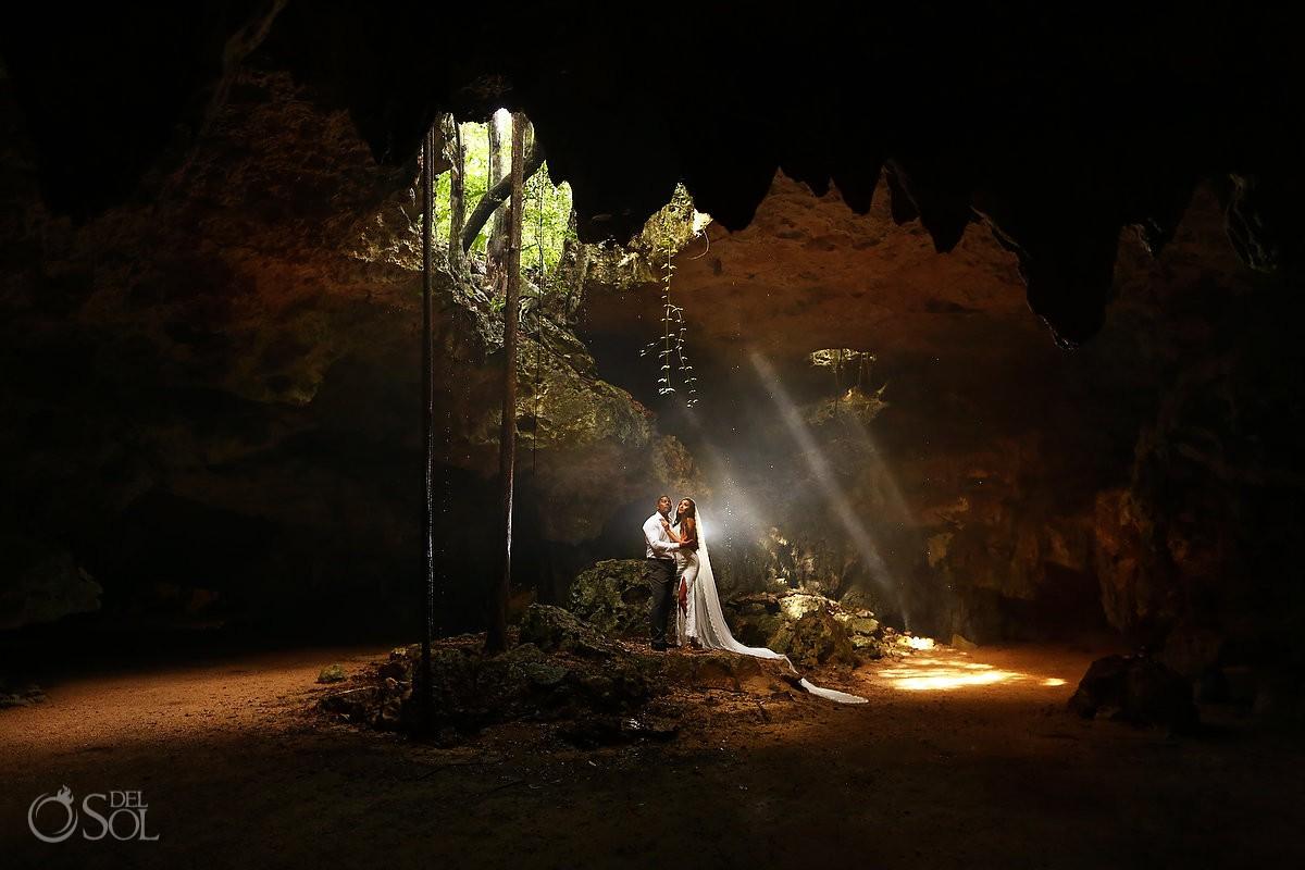 Amazing bride and groom wedding portraits Cenote Trash the Dress Riviera Maya Mexico #Aworldofitsown travel for love