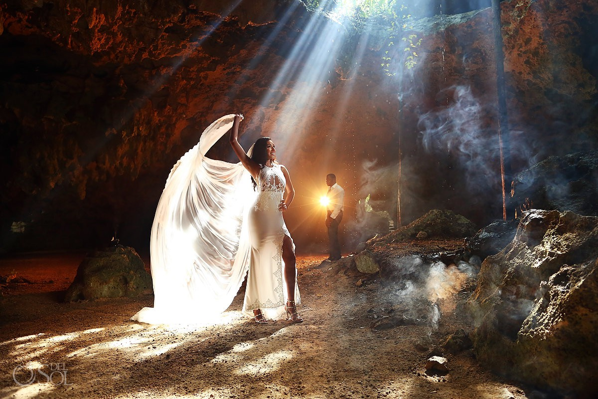 travel for love wedding dress under cenote cave Trash the Dress Riviera Maya Mexico
