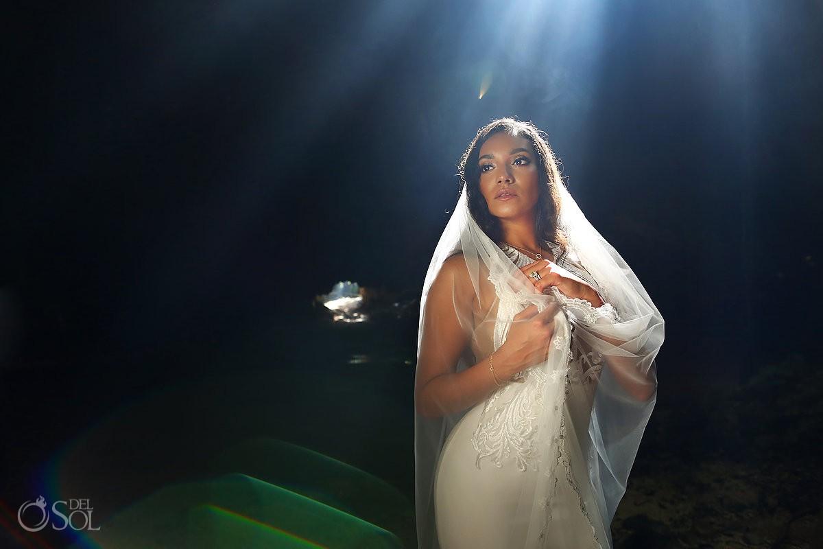 beautigul light bride portrait Cenote cave Trash the Dress Riviera Maya Mexico