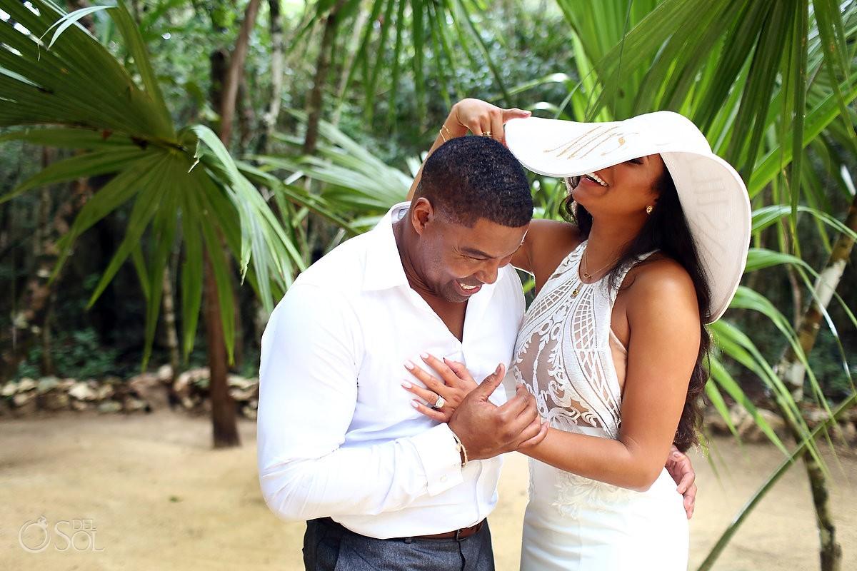 Lovely wedding couple romantic photo shoot Cenote Trash the Dress Riviera Maya Mexico