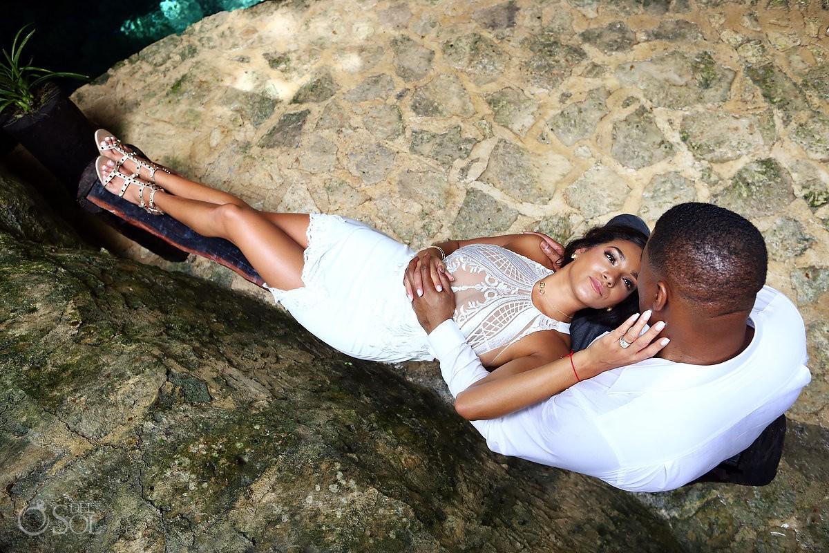 bride and groom sensual photo session jungle Cenote Trash the Dress Riviera Maya Mexico