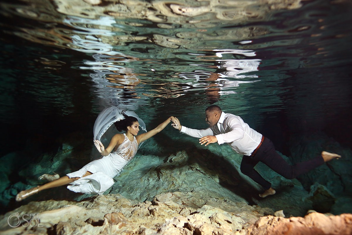 Bride and groom underwater photography Cenote Trash the Dress Riviera Maya Mexico travel for love