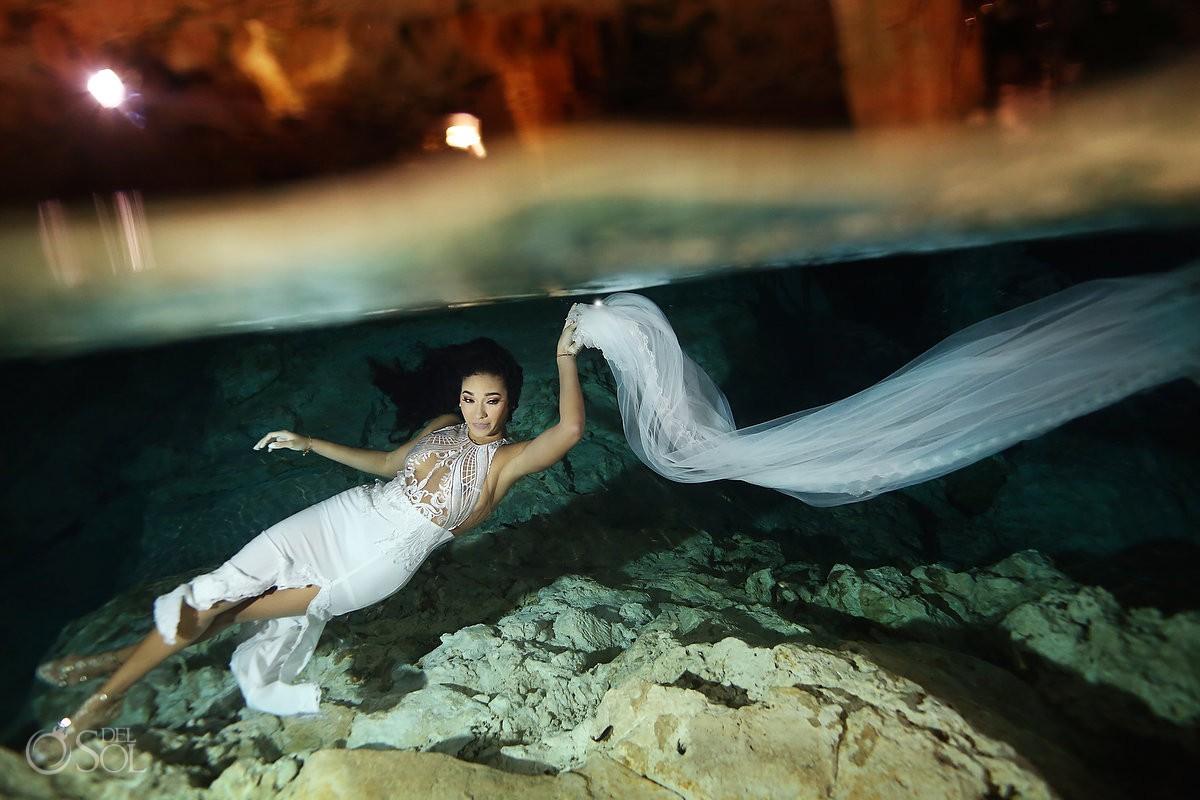 Bride underwater wedding portrait Cenote Trash the Dress Riviera Maya Mexico