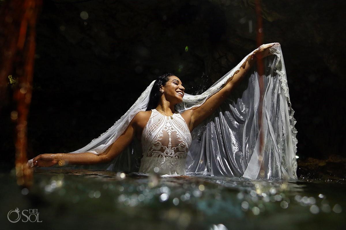 creative wedding dress ideas Cenote Trash the Dress Riviera Maya Mexico
