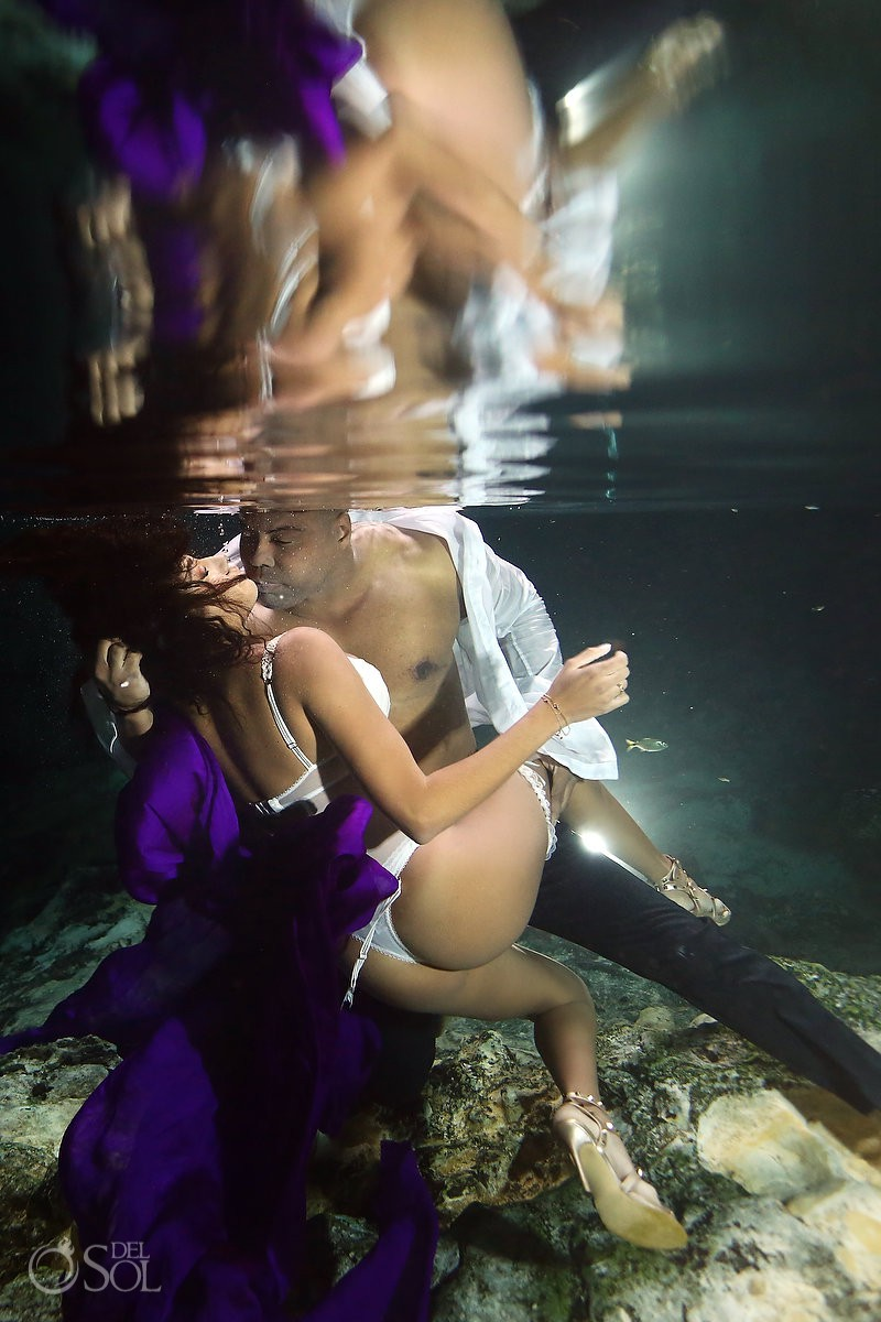 Sexiest couple Cenote Trash the Dress Riviera Maya Mexico underwater photography