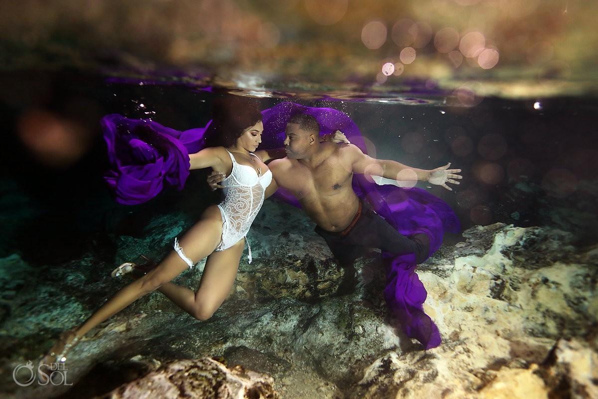 bride and groom destination photography ideas Cenote Trash the Dress Riviera Maya Mexico