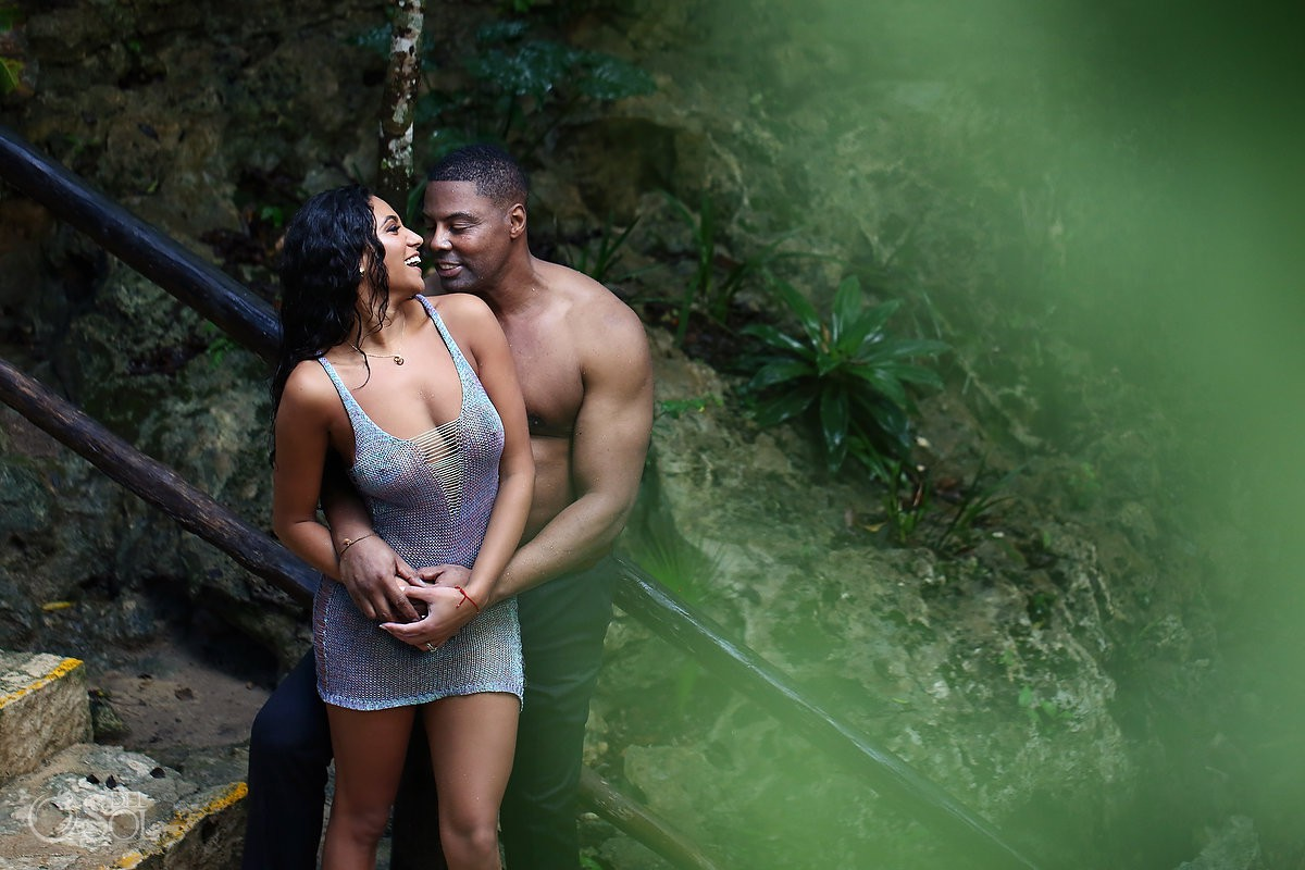 bride and groom sexy couple middle jungle Cenote Trash the Dress Riviera Maya Mexico